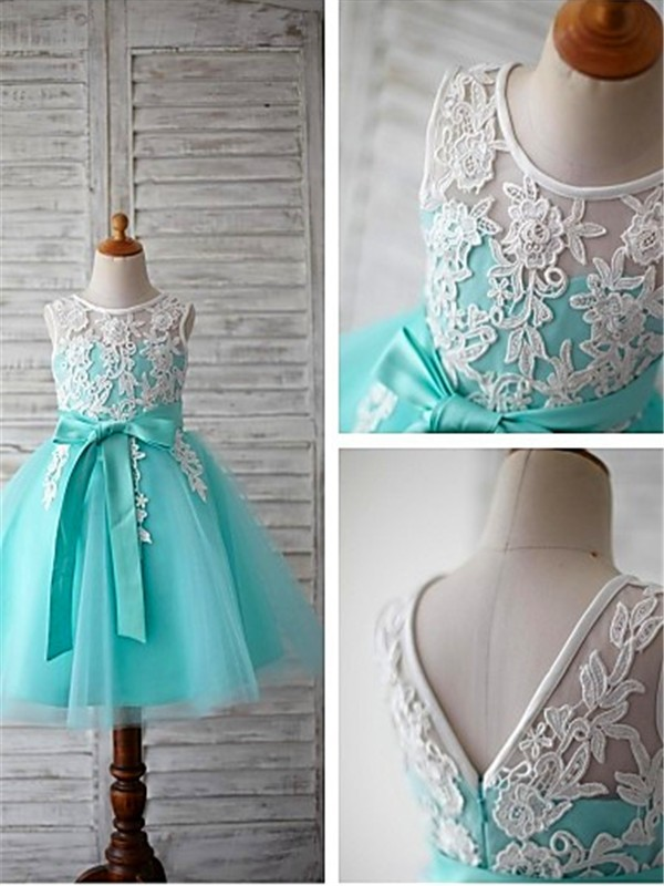 Ball Gown Scoop Tulle Sleeveless Knee-Length Flower Girl Dresses
