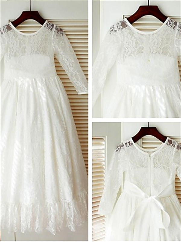 A-line/Princess Scoop Lace Long Sleeves Ankle-Length Flower Girl Dresses