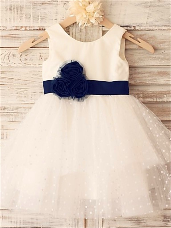A-line/Princess Scoop Organza Sleeveless Tea-Length Flower Girl Dresses