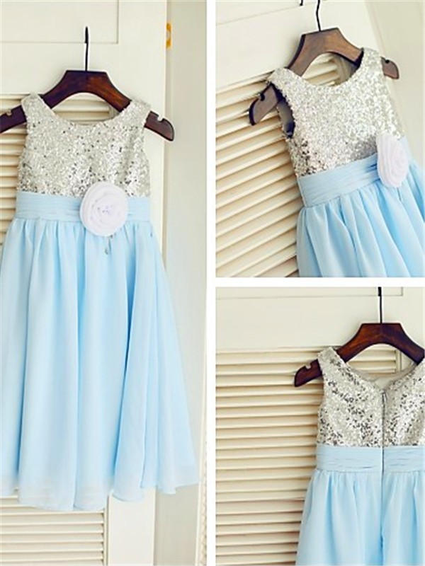 A-line/Princess Scoop Chiffon Sleeveless Tea-Length Flower Girl Dresses