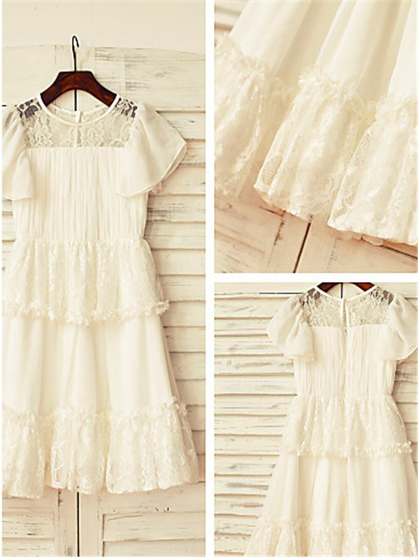 A-line/Princess Scoop Chiffon Short Sleeves Tea-Length Flower Girl Dresses