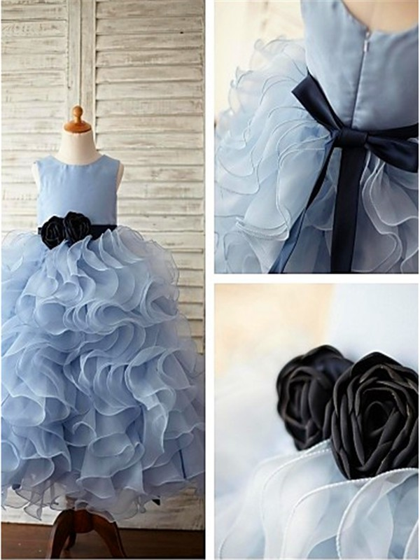 Ball Gown Scoop Organza Sleeveless Floor-Length Flower Girl Dresses