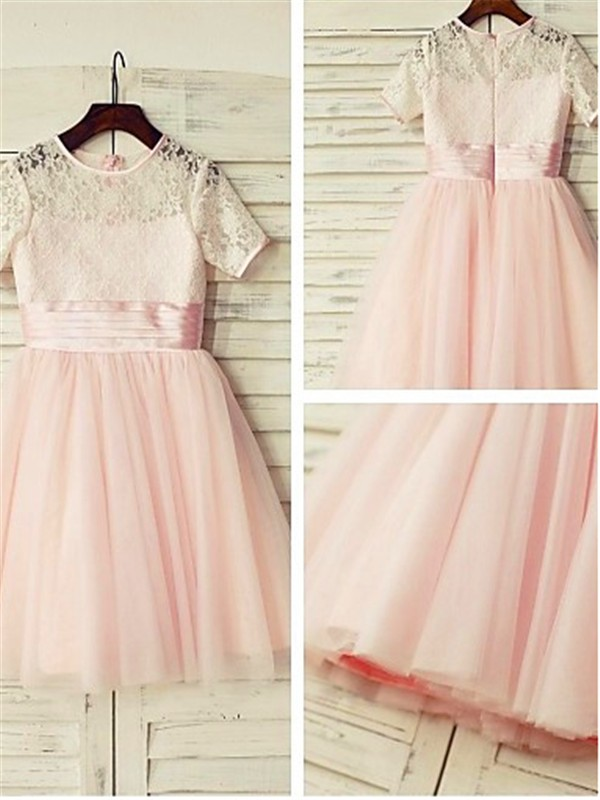 A-line/Princess Jewel Tulle Short Sleeves Tea-Length Flower Girl Dresses