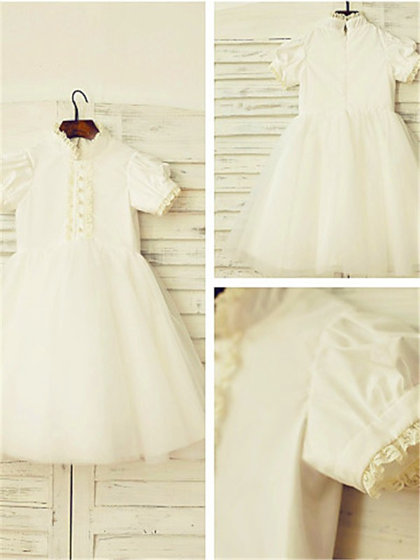 A-line/Princess High Neck Tulle Short Sleeves Tea-Length Flower Girl Dresses