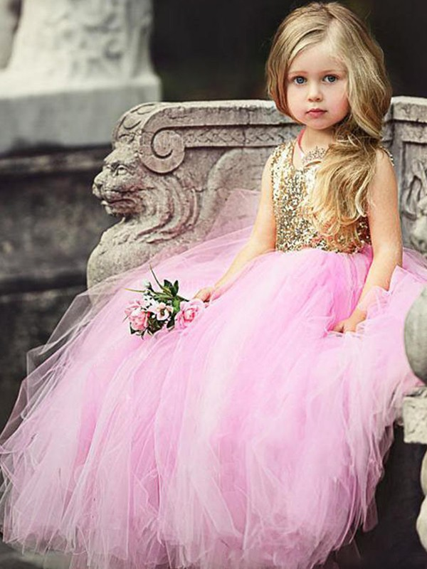 Ball Gown Scoop Tulle Sleeveless Floor-Length Flower Girl Dresses