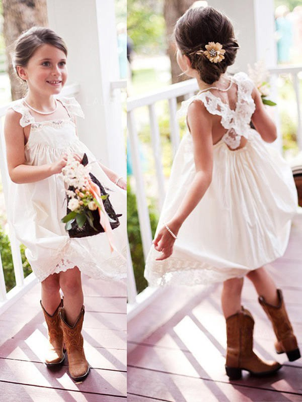 A-Line/Princess Square Chiffon Sleeveless Knee-Length Flower Girl Dresses