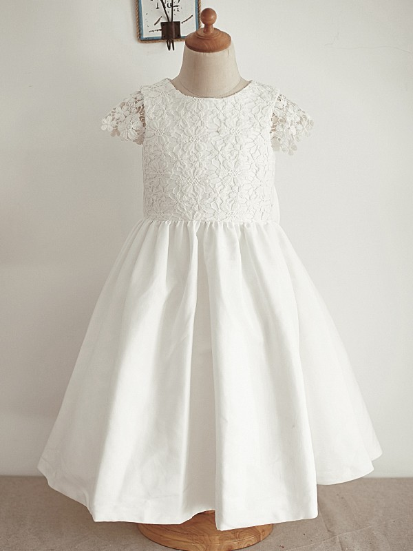 A-Line/Princess Scoop Lace Sleeveless Knee-Length Flower Girl Dresses