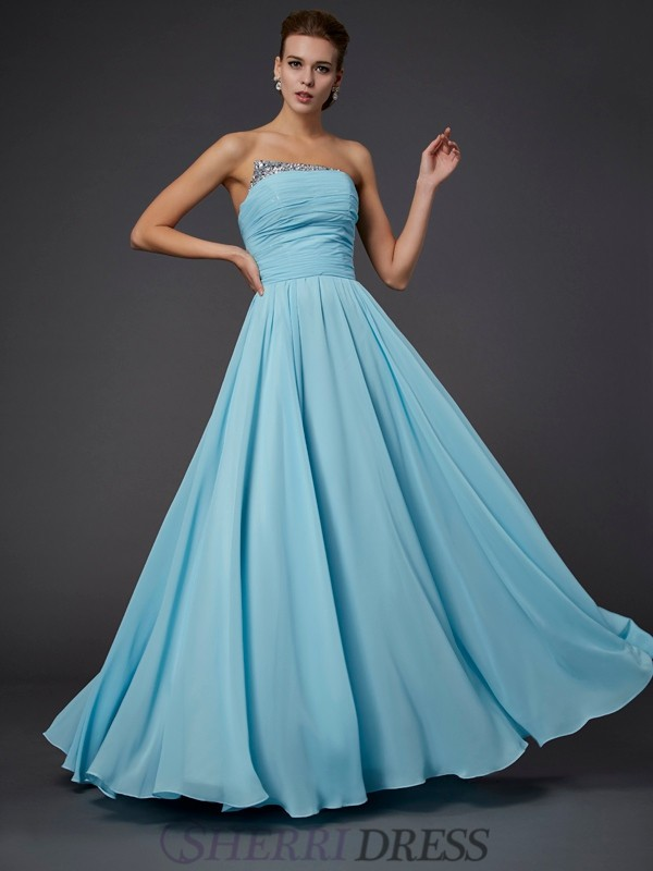 Sheath/Column Strapless Chiffon Sleeveless Floor-Length Dresses