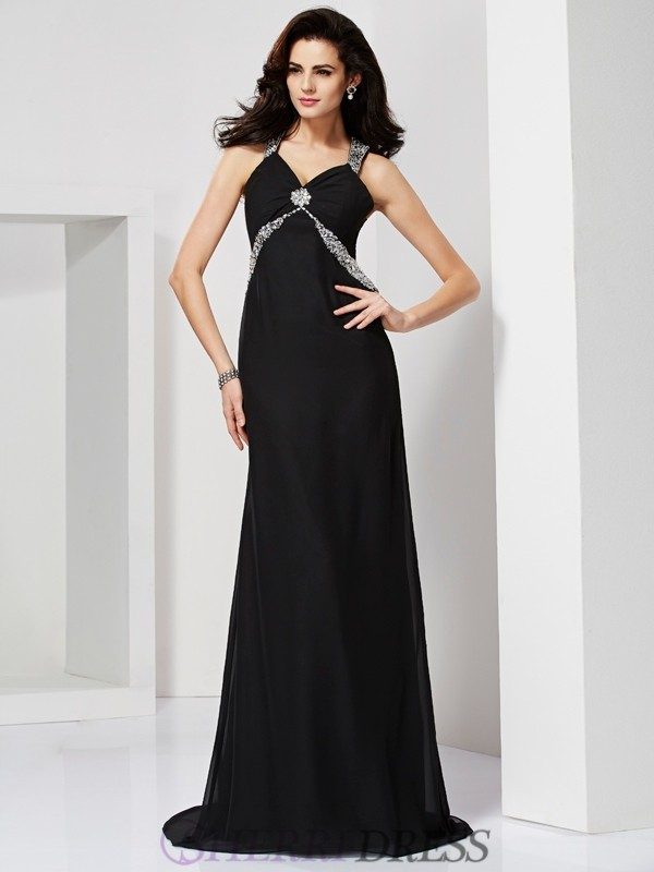 Sheath/Column Straps Chiffon Sleeveless Sweep/Brush Train Dresses
