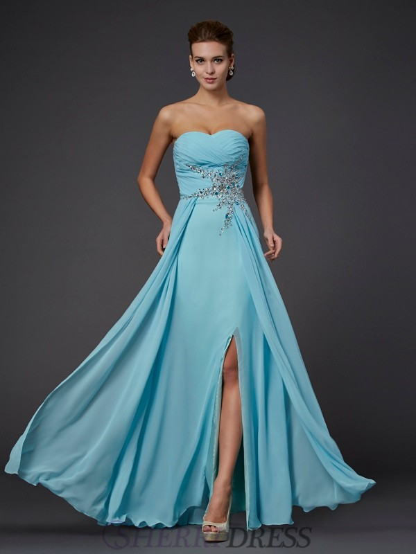 Sheath/Column Sweetheart Chiffon Sleeveless Floor-Length Dresses
