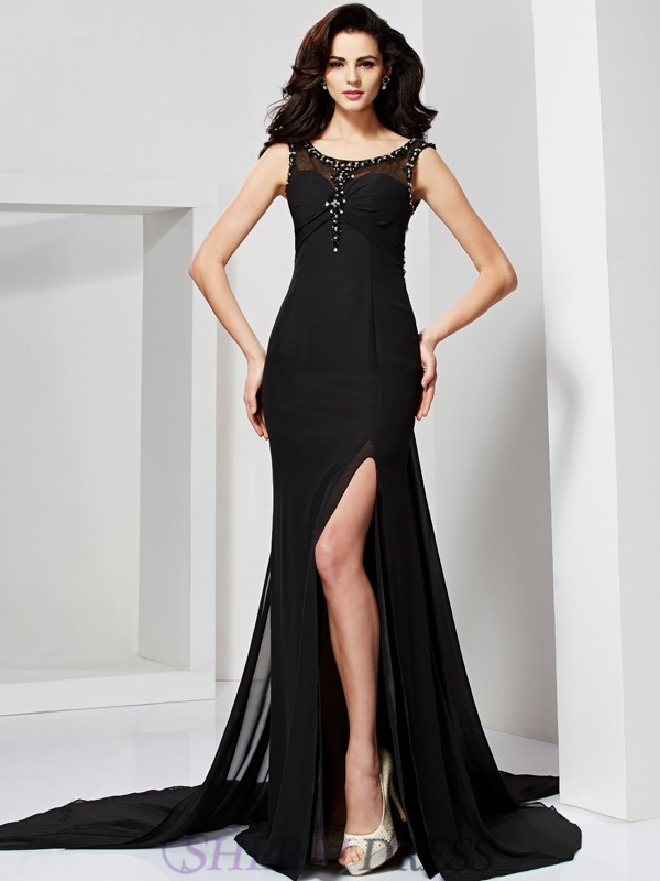 Sheath/Column Scoop Chiffon Sleeveless Sweep/Brush Train Dresses