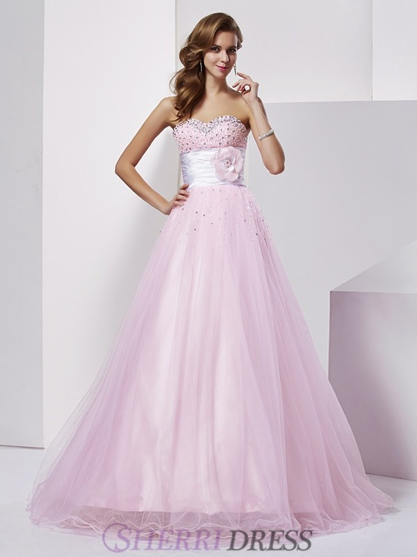 Ball Gown Strapless Elastic Woven Satin Sleeveless Floor-Length Dresses
