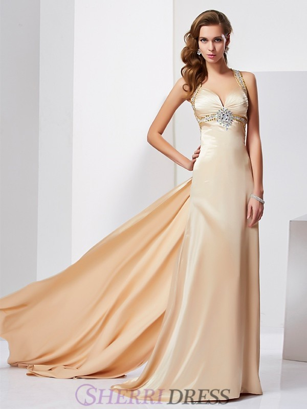 Sheath/Column Halter Silk like Satin Sleeveless Sweep/Brush Train Dresses
