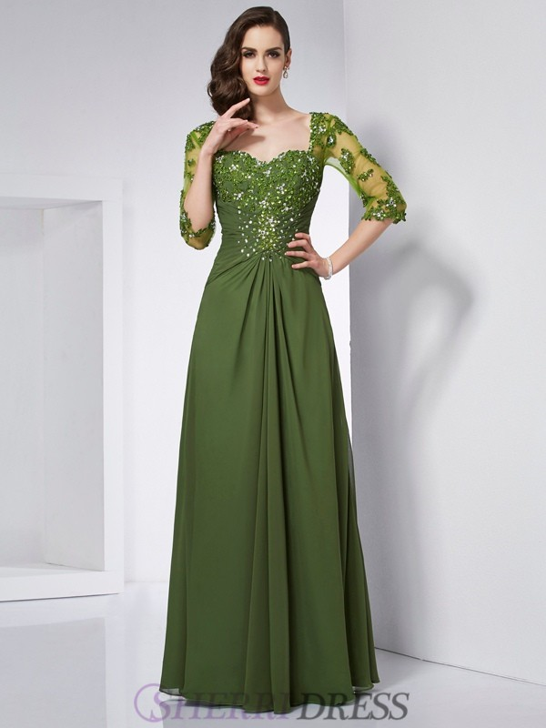A-Line/Princess Sweetheart Chiffon 3/4 Sleeves Floor-Length Dresses