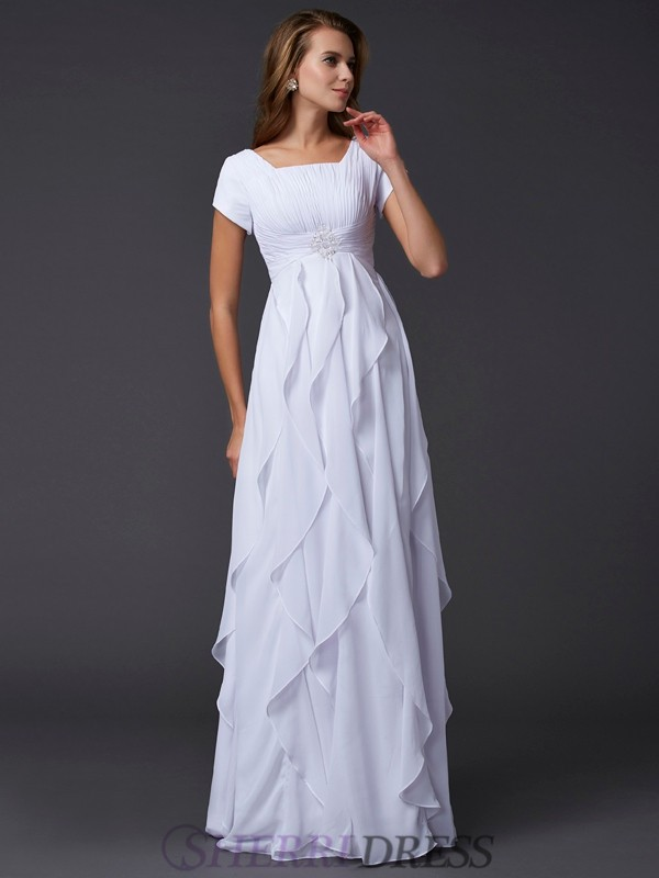 Sheath/Column Square Chiffon Short Sleeves Floor-Length Dresses