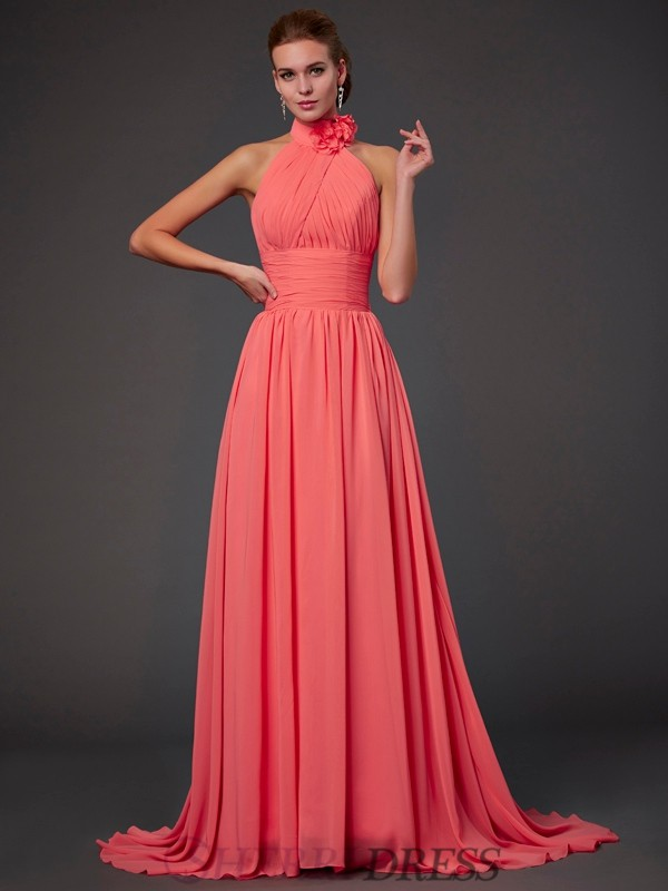 A-Line/Princess Halter Chiffon Sleeveless Sweep/Brush Train Bridesmaid Dresses