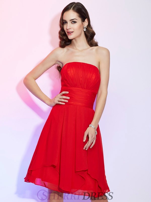 A-Line/Princess Strapless Chiffon Sleeveless Knee-Length Dresses