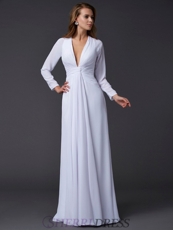 Sheath/Column V-neck Chiffon Long Sleeves Floor-Length Dresses