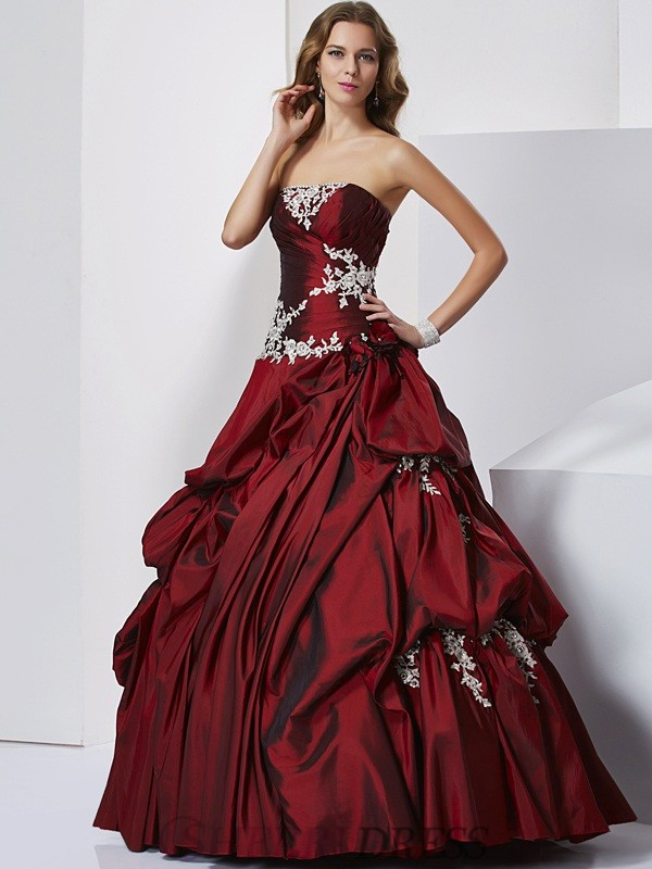 Ball Gown Sweetheart Taffeta Sleeveless Floor-Length Prom Dresses