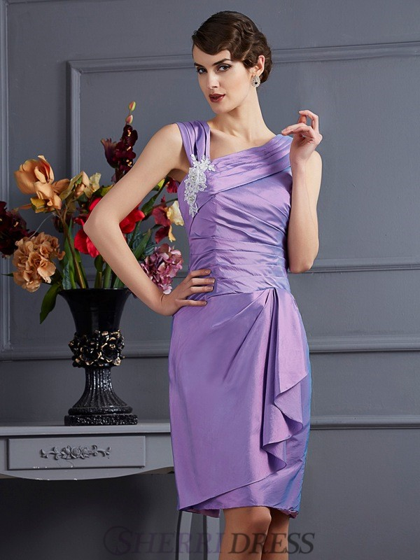 Sheath/Column Taffeta Sleeveless Knee-Length Bridesmaid Dresses