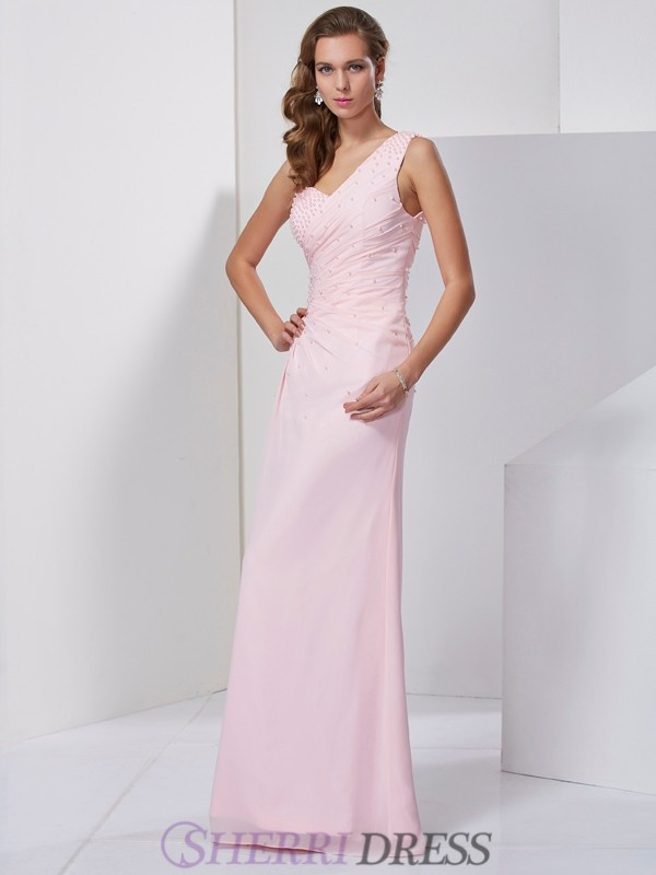 Sheath/Column One-Shoulder Chiffon Sleeveless Floor-Length Dresses