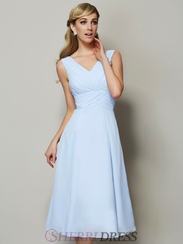A-Line/Princess V-neck Chiffon Sleeveless Tea-Length Bridesmaid Dresses