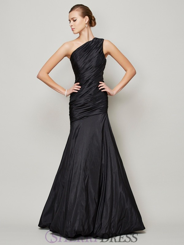 A-Line/Princess One-Shoulder Taffeta Sleeveless Floor-Length Dresses