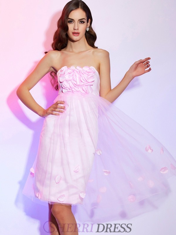 A-Line/Princess Strapless Net Sleeveless Knee-Length Dresses
