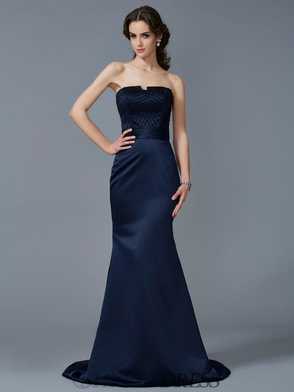 Trumpet/Mermaid Strapless Satin Sleeveless Sweep/Brush Train Dresses