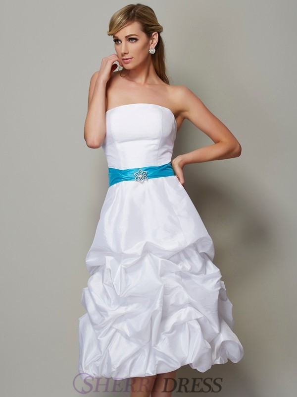 A-Line/Princess Strapless Taffeta Sleeveless Tea-Length Dresses
