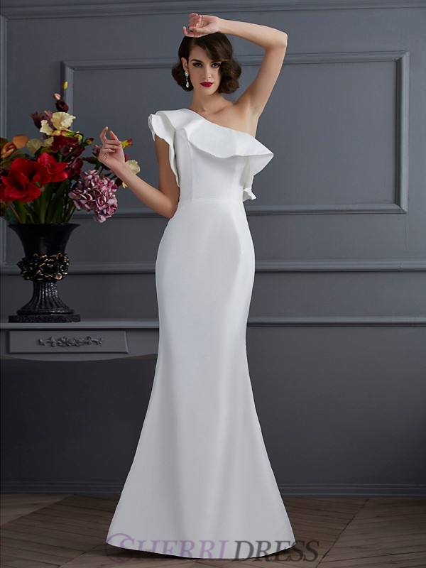 Trumpet/Mermaid One-Shoulder Taffeta Sleeveless Floor-Length Dresses