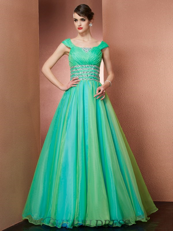 Ball Gown Off the Shoulder Satin Sleeveless Floor-Length Dresses