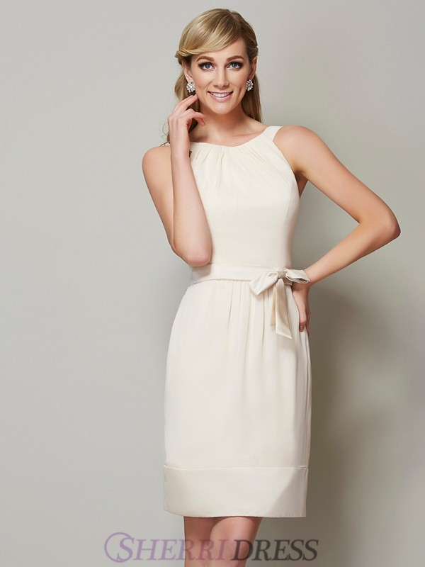 Sheath/Column Scoop Chiffon Sleeveless Knee-Length Bridesmaid Dresses