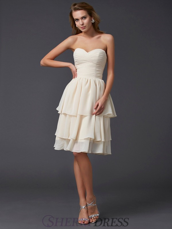 Sheath/Column Sweetheart Chiffon Sleeveless Knee-Length Bridesmaid Dresses