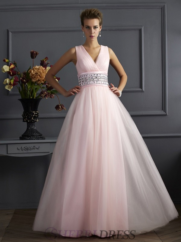 Ball Gown V-neck Net Sleeveless Floor-Length Dresses