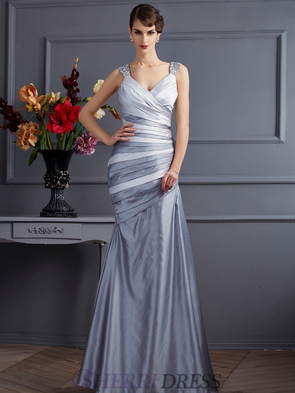 Trumpet/Mermaid Straps Satin Sleeveless Floor-Length Dresses