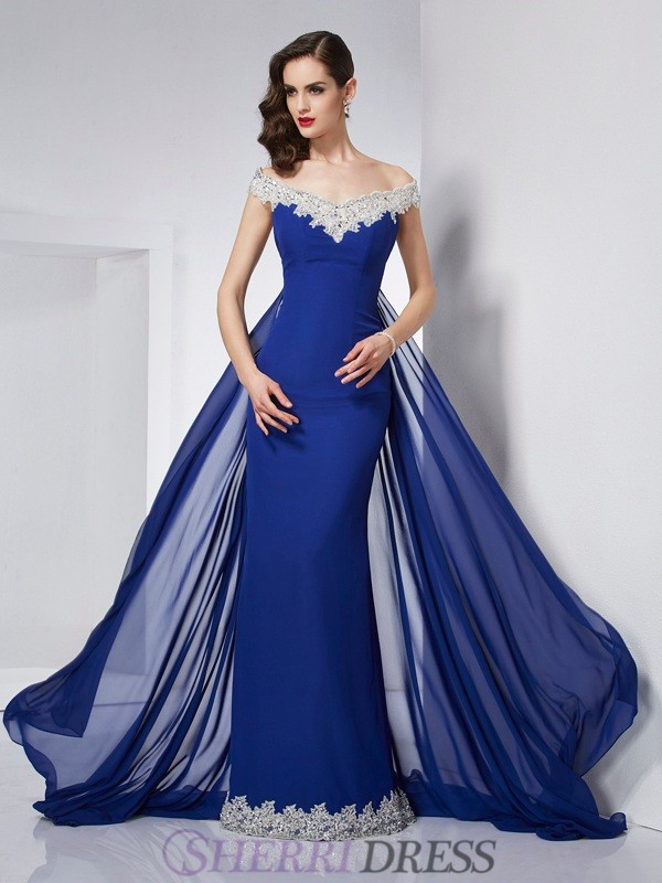Trumpet/Mermaid Off the Shoulder Chiffon Sleeveless Floor-Length Dresses