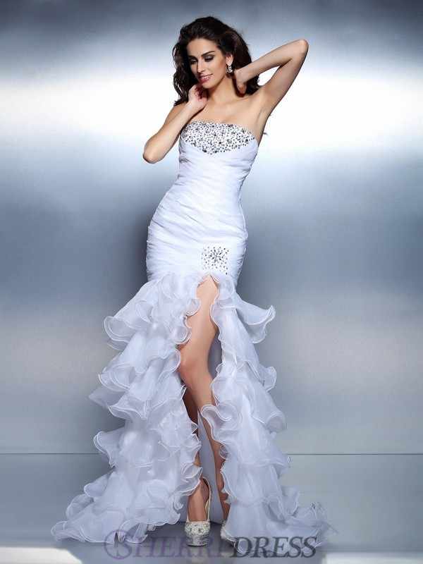 Trumpet/Mermaid Strapless Organza Sleeveless Floor-Length Prom Dresses