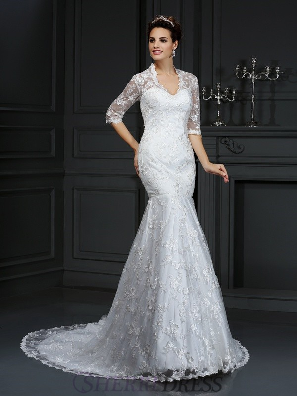 Trumpet/Mermaid V-neck Lace 1/2 Sleeves Court Train Wedding Dresses