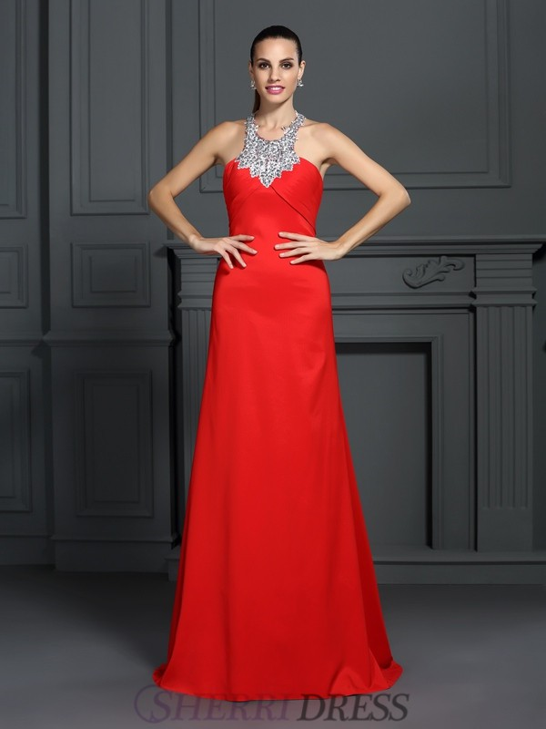 A-Line/Princess High Neck Elastic Woven Satin Sleeveless Sweep/Brush Train Dresses