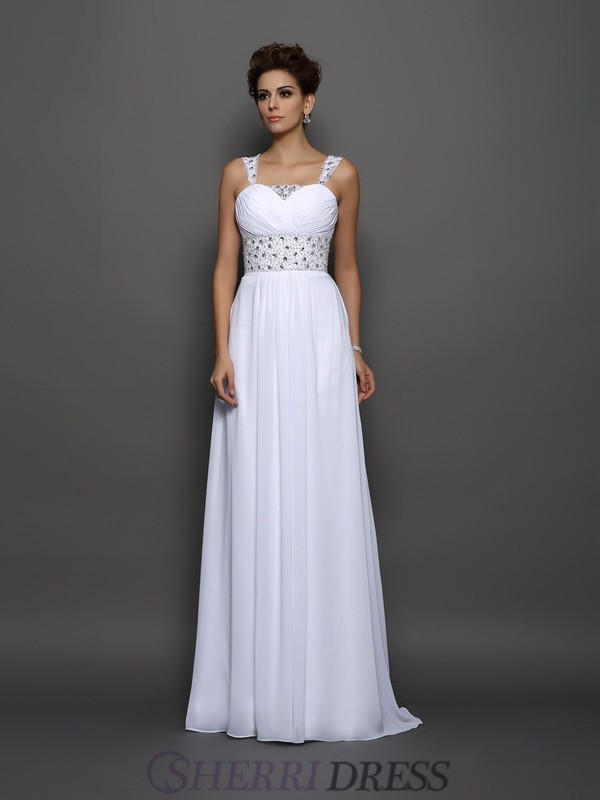 A-Line/Princess Straps Chiffon Sleeveless Court Train Wedding Dresses