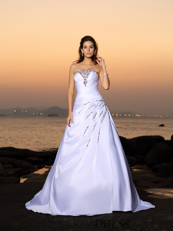 A-Line/Princess Strapless Satin Sleeveless Chapel Train Wedding Dresses