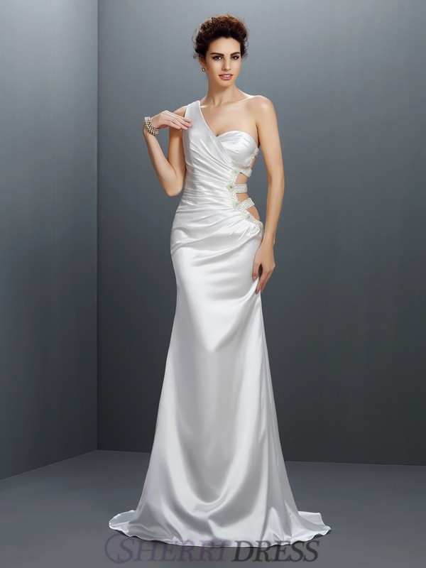 Trumpet/Mermaid One-Shoulder Elastic Woven Satin Sleeveless Sweep/Brush Train Prom Dresses