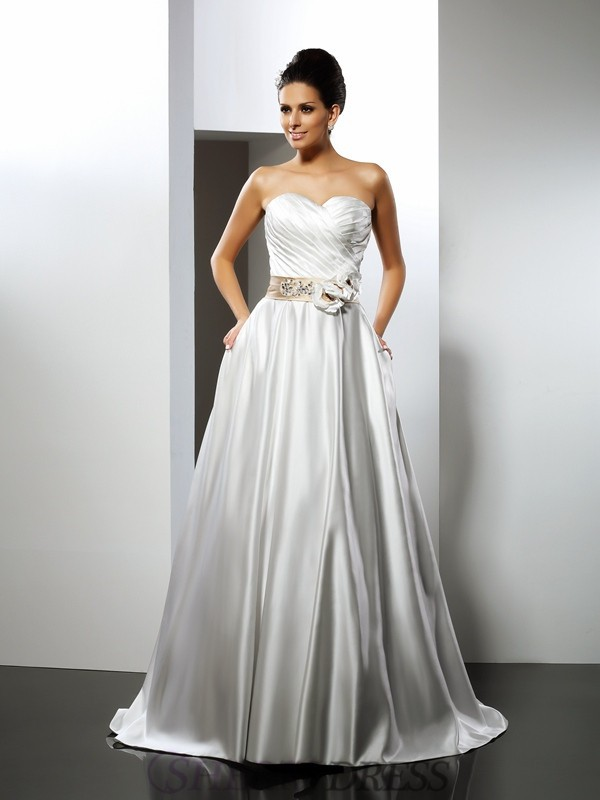 A-Line/Princess Sweetheart Satin Sleeveless Court Train Wedding Dresses