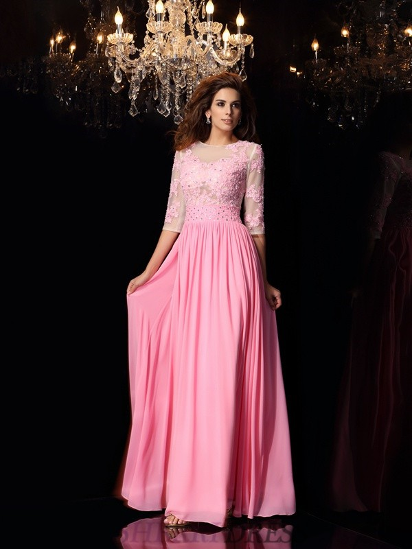 A-Line/Princess Scoop Silk like Satin 1/2 Sleeves Floor-Length Dresses
