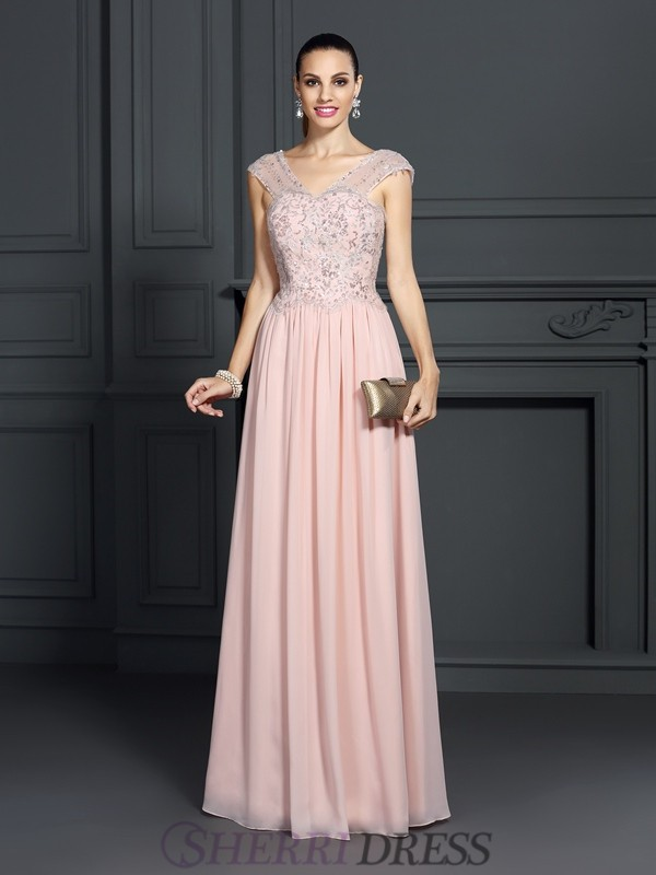 A-Line/Princess Straps Chiffon Sleeveless Floor-Length Dresses