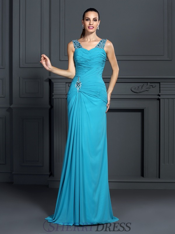 Trumpet/Mermaid Straps Chiffon Sleeveless Sweep/Brush Train Dresses