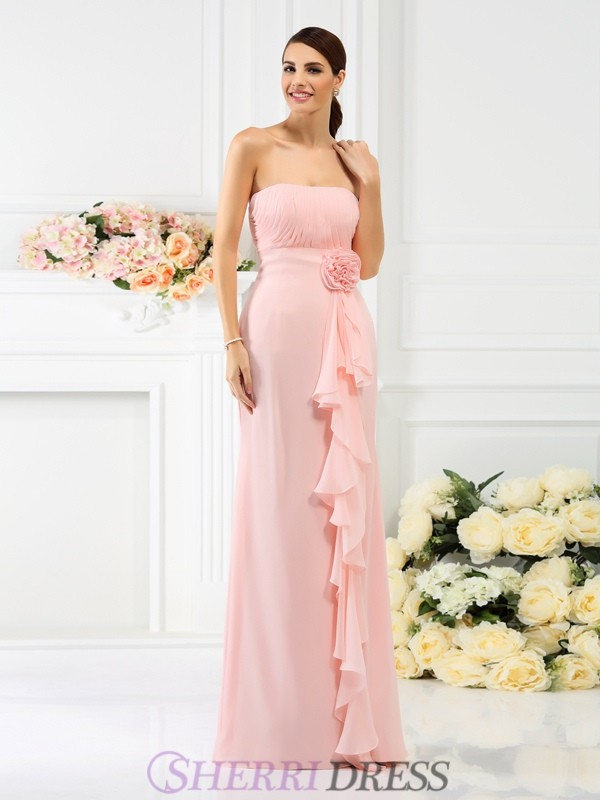 Sheath/Column Strapless Chiffon Sleeveless Floor-Length Bridesmaid Dresses