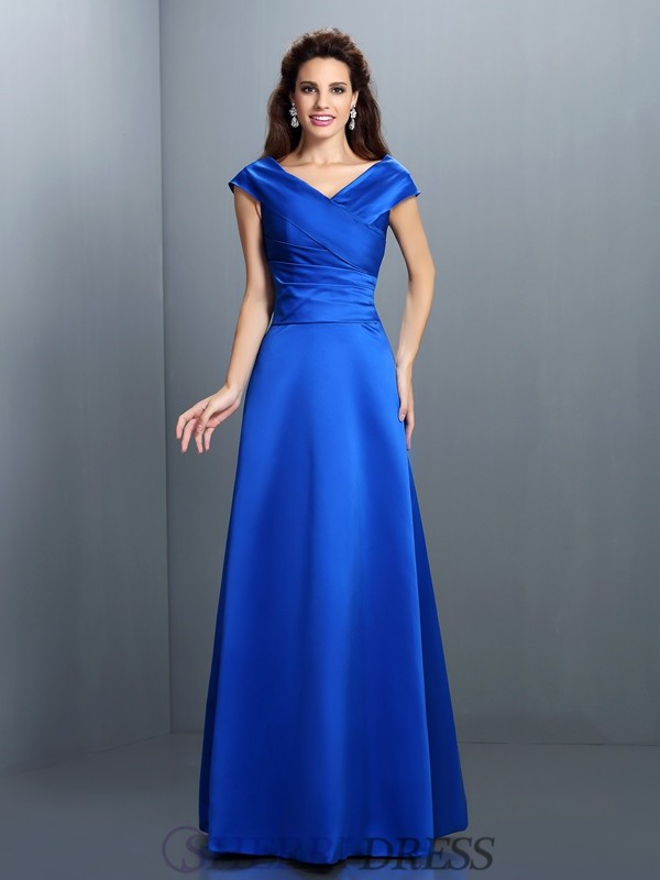 A-Line/Princess V-neck Satin Sleeveless Floor-Length Dresses