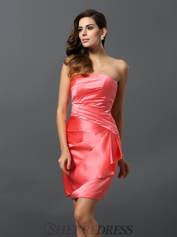 Sheath/Column Strapless Satin Sleeveless Short/Mini Bridesmaid Dresses